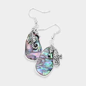 Abstract Abalone Metal Seahorse Dangle Earrings